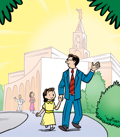 An illustration of a father in a blue suit and red tie walking around temple grounds while holding his daughter's hand.