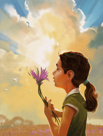 An illustration of a girl with a green shirt and a ponytail, holding purple wildflowers from a field, with the sun rising through clouds in the background.