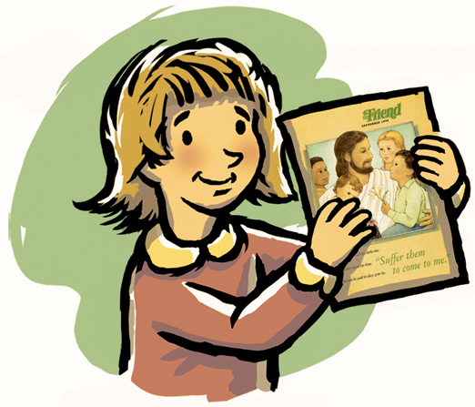 An illustration of a young girl with short blond hair and a red blouse, holding a Friend magazine.