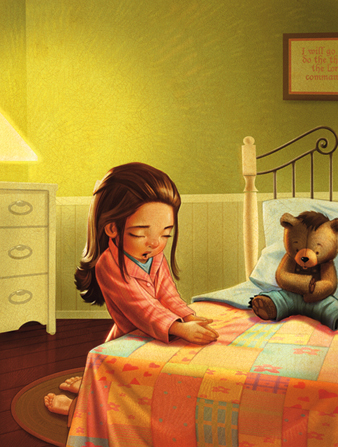 An illustration of a girl with long brown hair kneeling by her bed to pray with her hands clasped and her head bowed.