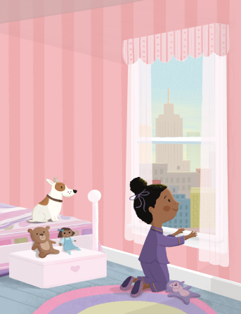 An illustration of a little girl in pajamas kneeling at her bedroom window and looking at the city, with her dog sitting on her bed.