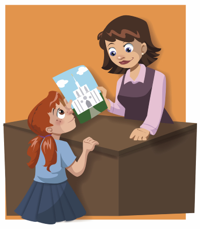An illustration of a librarian in a purple dress handing a picture of a temple to a little girl with pigtails.