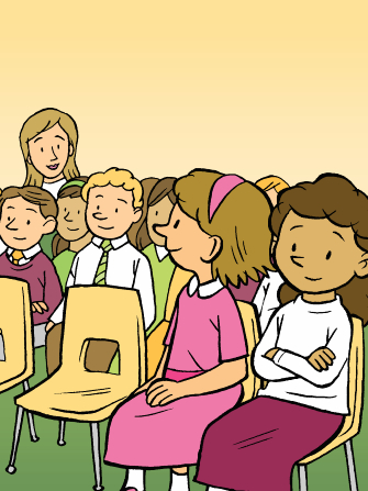 An illustration of a girl in a pink dress sitting reverently in her Primary class and looking back at her teacher, with other children sitting around her.