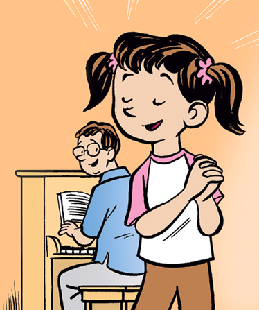 An illustration of a girl in pigtails singing while her father sits behind her, playing the piano and singing along.
