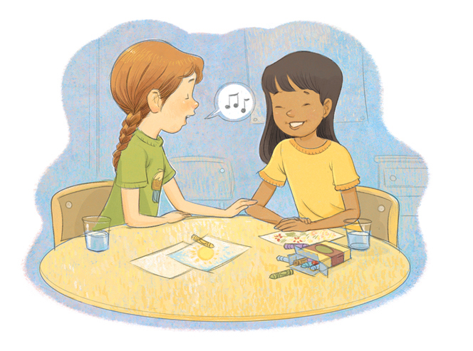 An illustration of a girl with a brown braid sitting at a table and singing to another girl, who has dark brown hair, while both draw with crayons.