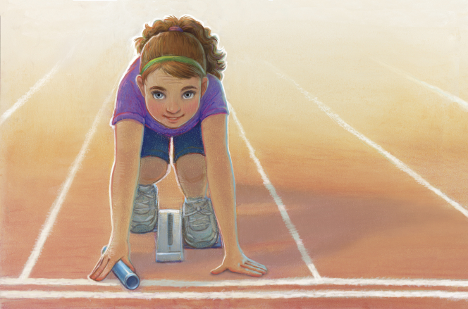 An illustration of a girl wearing a purple shirt, blue shorts, and gray tennis shoes, crouching down in a lane on a running track and waiting to begin a race.