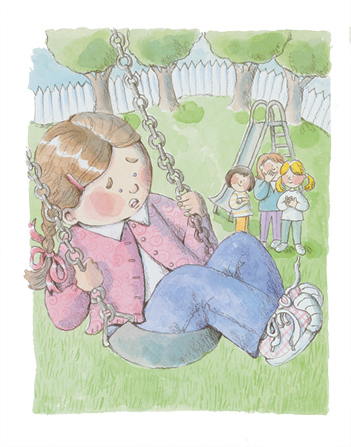 An illustration of a little girl who looks scared as she goes too high in her swing and three of her friends watch her from below.