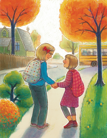 An illustration of two little girls with backpacks, holding hands and walking toward a school bus at a bus stop.