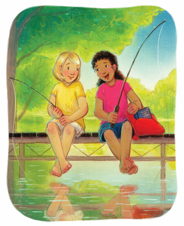An illustration of two girls sitting on the edge of a pier, holding fishing poles and swinging their legs above the water.