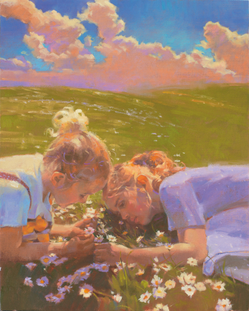 An illustration of two sisters lying in the grass and picking daisies in a large green field with a blue sky and clouds overhead.