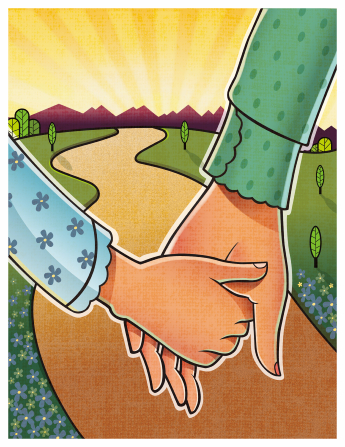 An illustration of a mother's hand holding her daughter's hand as the two of them walk down a path together toward a setting sun.