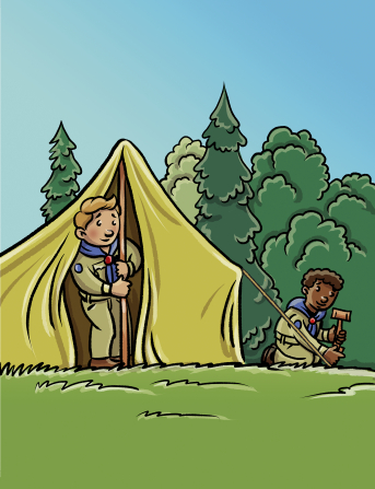 An illustration of two boys in their Scouting uniforms setting up a tent together on a grass lawn, with trees in the background.