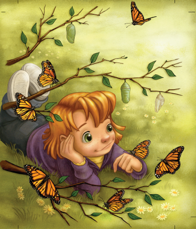 An illustration of a little girl lying in the grass, with an orange and black butterfly on her hand and other butterflies flying around her.