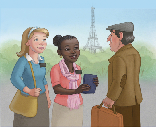 An illustration of two female missionaries in Paris, France, handing a Book of Mormon to an elderly man, with the Eiffel Tower in the background.