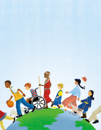 An illustration of children from different countries walking around the outside of the earth, with one boy in a wheelchair.