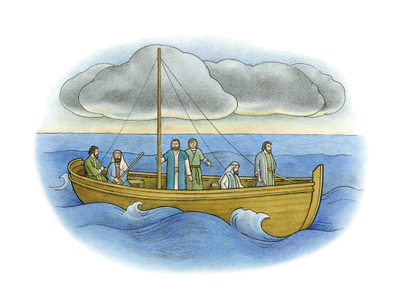 An illustration of Jesus standing on a boat with five of His Apostles and calming the stormy sea, with storm clouds above in the sky.