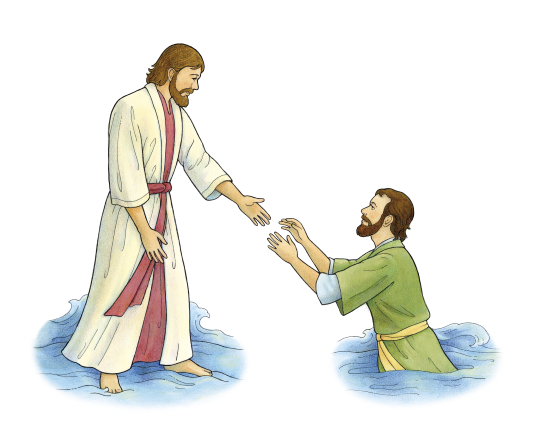 An illustration of a Bible story about Jesus walking on water and reaching His hand down to Peter, who is sinking in the water.