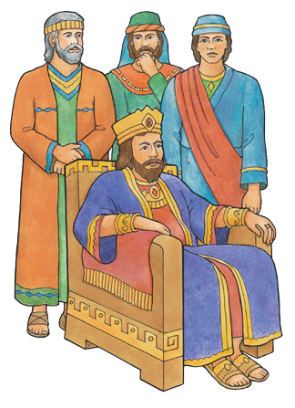 An illustration of King Noah from the Book of Mormon, dressed in royal clothing and sitting on a throne, with three of his priests standing around him.