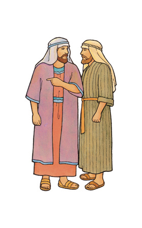 An illustration of Laman and Lemuel from the Book of Mormon, standing together and whispering.