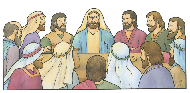 An illustration of Jesus Christ sitting at a table with His Twelve Apostles during the Last Supper.