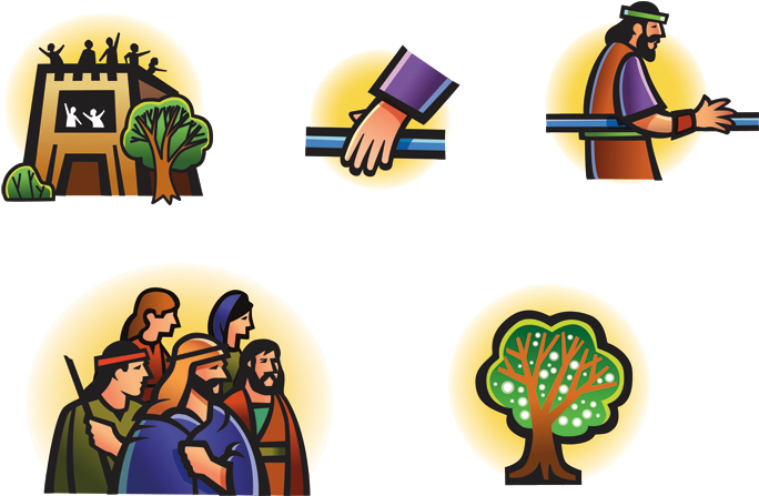 Five clip art images from Lehi's dream: the great and spacious building, a hand on the rod, Nephi holding the rod, Lehi's family, and the tree of life.