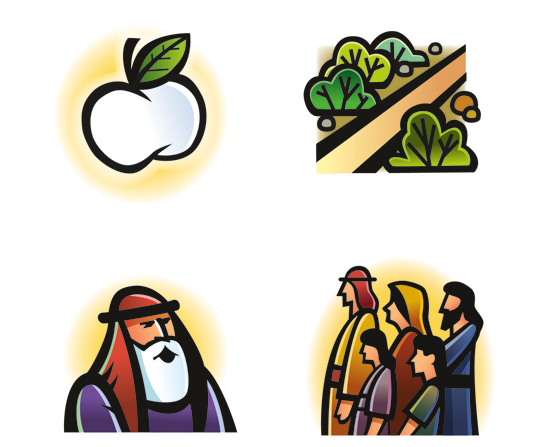 Four clip art images from Lehi's dream: the fruit, the path, Lehi, and Lehi's family.