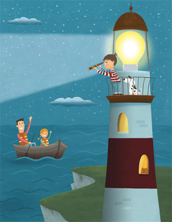 An illustration of a boy standing with a dog at the top of a lighthouse at night, looking through a telescope at his father and sister, who are in a boat on the water.