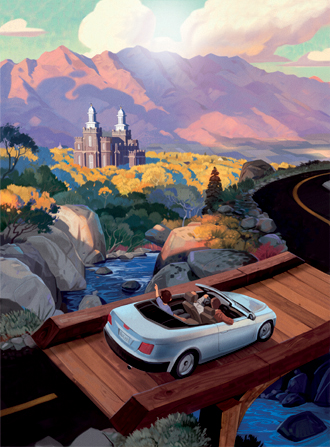 An illustration of a family of three driving in a convertible car over a river on a wooden bridge toward the Logan Utah Temple.