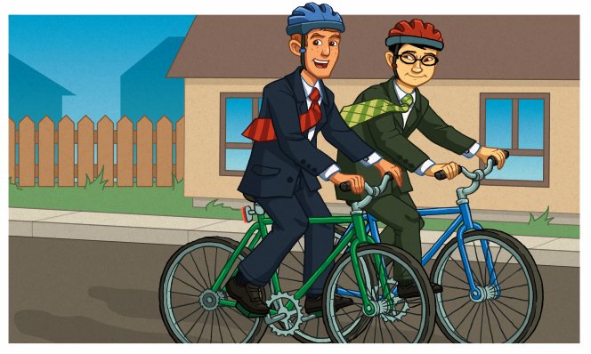 An illustration of two male missionaries in suits, ties, and helmets riding bikes down a street together.