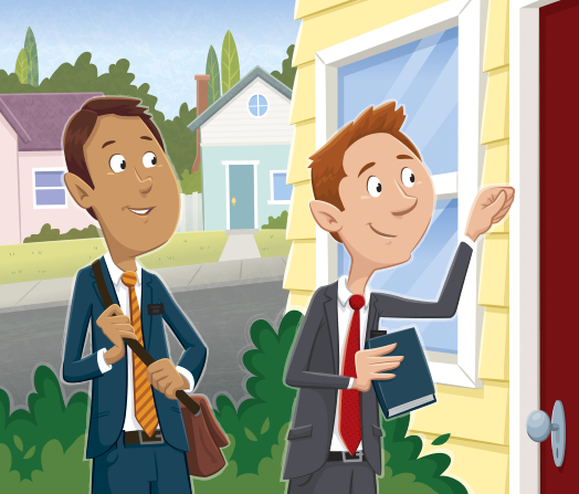 An illustration of two male missionaries in blue and gray suits smiling while knocking on a red door in a neighborhood.