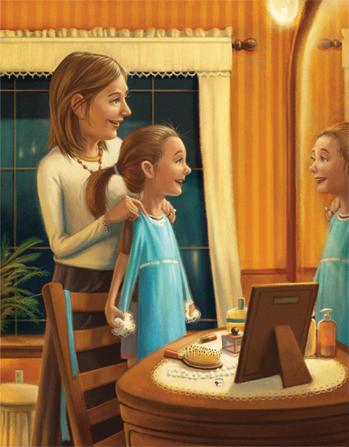 An illustration of a mother standing in a bedroom in front of a mirror with her daughter, holding up a new blue dress in front of her daughter.