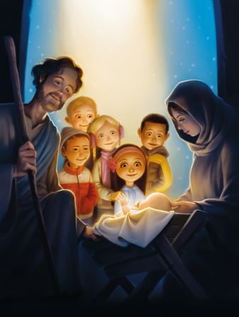 An illustration of five children standing together outside, watching a reenactment of the Nativity scene with Mary, Joseph, and baby Jesus.