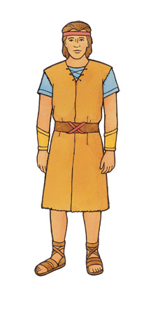 An illustration of Nephi dressed in a blue shirt, a brown robe, and sandals.