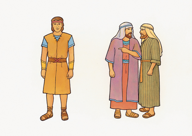 An illustration of the Book of Mormon characters Laman and Lemuel whispering and pointing at their brother Nephi, who is standing away from them.