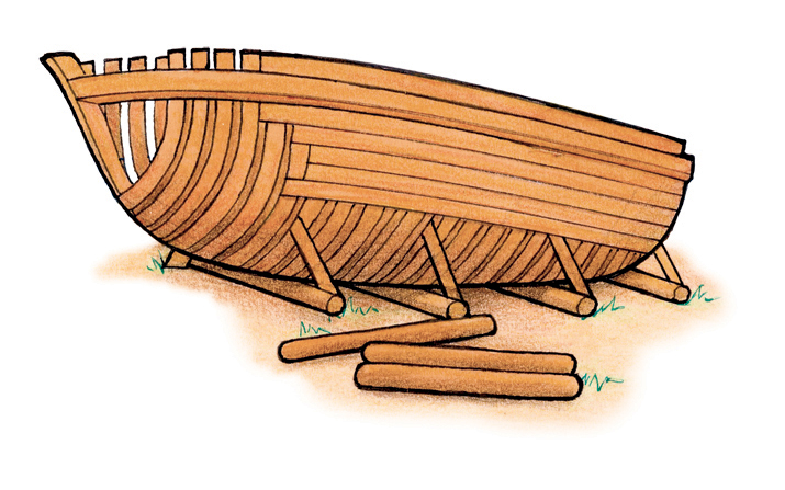 An illustration of a boat being constructed so Nephi can take his family across the ocean to the promised land.
