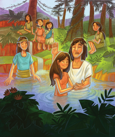 An illustrated Book of Mormon scene of a man baptizing a woman in a river while other people watch and wait to be baptized.