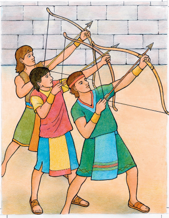 An illustration of three Nephites shooting arrows upward next to a brick wall.