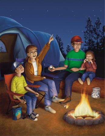 An illustration of a mother and father sitting around a campfire with their two children, with a tent set up in the background and stars overhead.
