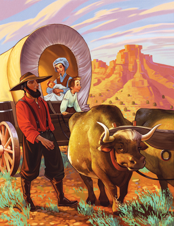 An illustration of a pioneer father walking in the desert next to a covered wagon pulled by oxen, with his wife and two children inside.