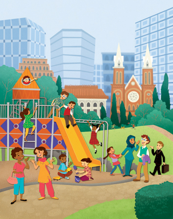 An illustration of a group of children at a playground in a big city, with parents standing around talking.