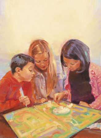 An illustration of two sisters and a brother sitting and playing a board game together at a table.
