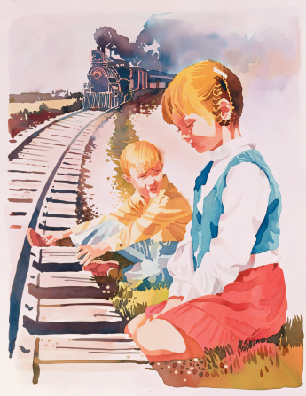 An illustration of a little girl kneeling and praying for her brother, whose foot is stuck in a rail as a train approaches.