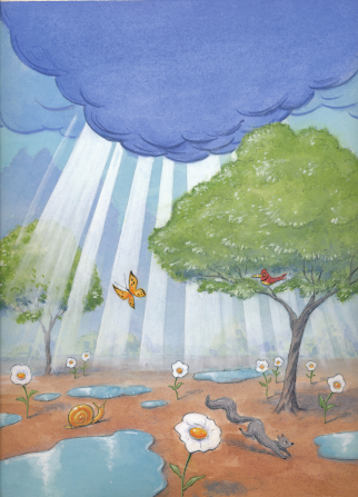 An illustration of sunbeams breaking through storm clouds and shining down over trees, butterflies, and puddles of water.