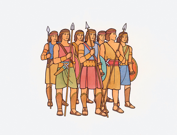 An illustration of seven of the stripling warriors all standing together, carrying spears and shields.