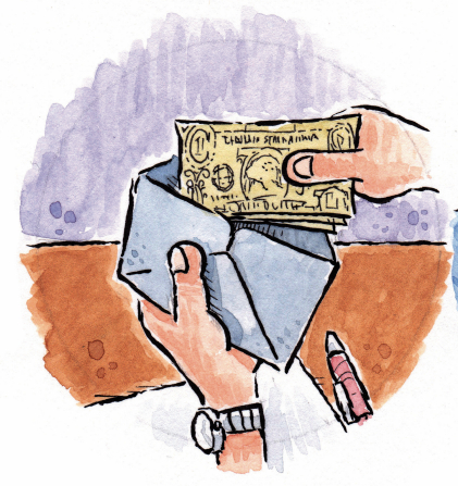An illustration of two hands putting cash into a tithing envelope.