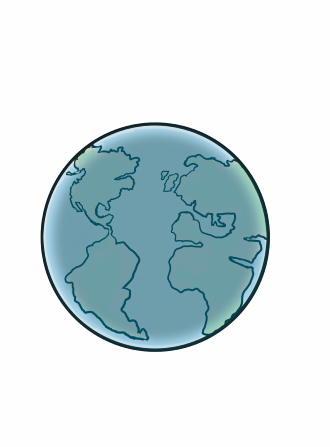 An illustration of the earth in blue, outlined in black.