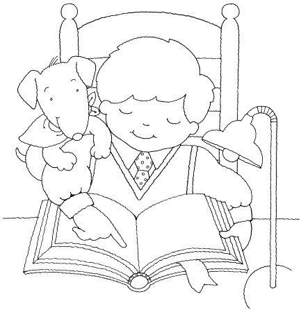 An illustration of a boy sitting in a chair at a table and reading from his scriptures, with a lamp on one side and his dog on the other.