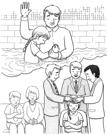 An illustration of a girl getting baptized by her father, and another image of her being confirmed by her father and two other men.