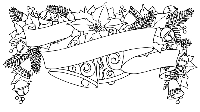 A coloring page of a Christmas banner with two large bells in the center, framed by poinsettias and pine boughs.