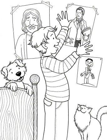 An illustration of a boy taping a poster of Joseph Smith to his bedroom wall next to a poster of Jesus Christ, with his dog and cat watching him.